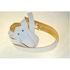 Double Strap Leather Parade Carrying Belt (White)
