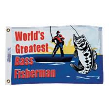 "12x18"" Nylon Bass Fisherman Flag"