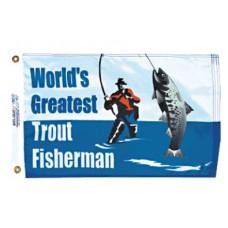 "12x18"" Nylon Trout Fisherman Flag"