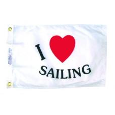 """12x18"""" Nylon I Love Sailing Flag"""